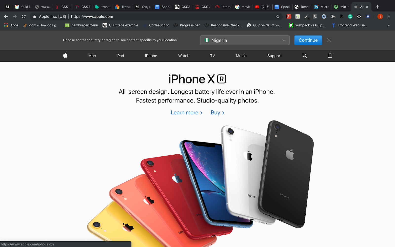 Apple web page with css